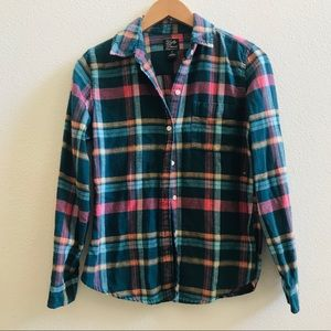 LUCKY BRAND women's teal plaid flannel shirt S